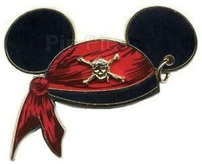 PIRATES OF The CARIBBEAN MICKEY Mouse EARS HAT+Earring DISNEY PIN