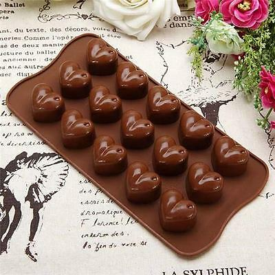 Silicone 15 Heart Cake Chocolate Cookies Baking Mould Ice Cube Soap Mold LA