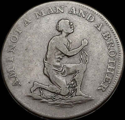 Conder Halfpenny Token, Am I Not a Man and a Brother, 1790's (SKU #F673)