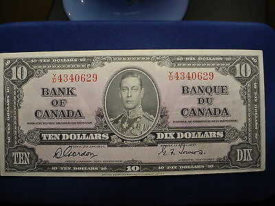 Nice 1937 $10 Bank Of Canada Note!!
