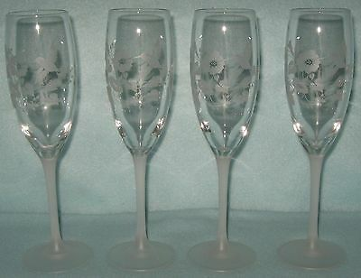 Avon Crystal Etched Hummingbird 4 Flutes 6 Ounce