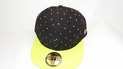 Nwt New Era Hat Cap Fitted 59Fifty Size 7 1/2 Black And Green Dots