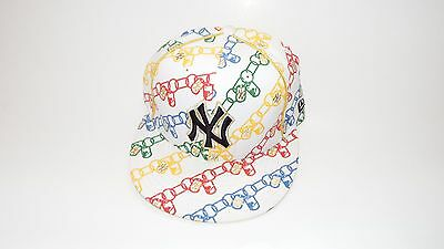 New Era Hat Cap Fitted New York Yankees Size 7 Chain Multicolor Vintage