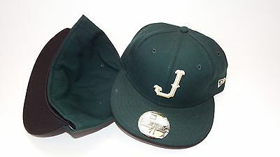 New Era Hat Cap Fitted Letter J Size 7 1/2 Low Profile Forest Green
