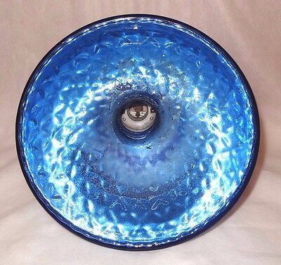 Antique Quilted Blue Mercury Glass Industrial Medical Light Fixture Globe Shade