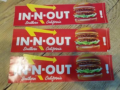 3 Older IN-N-OUT Southern California BUMPER STICKERS w/ double double