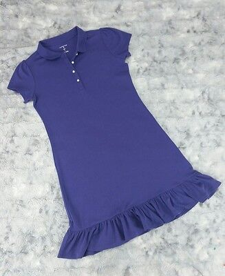 Lands' End Kids Girls Size 12 Purple Cotton Polo Shirt Dress