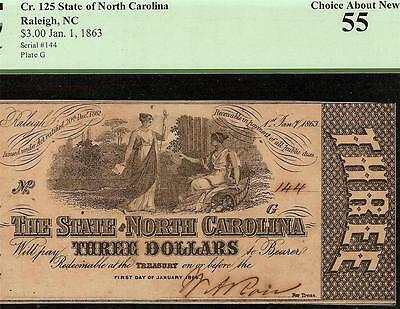 1863 $3 Three Dollar Bill Raleigh North Carolina Note Large Currency Pcgs 55