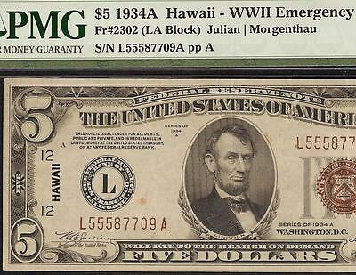 1934 A $5 Dollar Bill Wwii Hawaii Brown Seal Note Currency Paper Money Pmg 40
