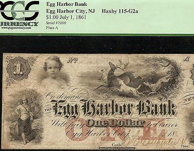 1861 $1 Dollar Bill Egg Harbor Bank Note Large Currency Paper Money Pcgs