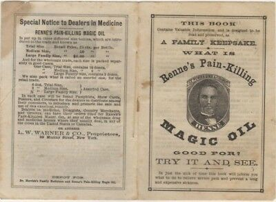 Antique Renne's Magic Oil Booklet Patent Medicine Booklet ca 1878