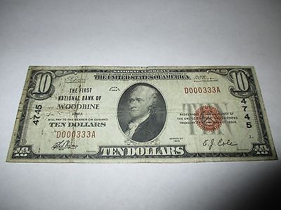 $10 1929 Woodbine Iowa IA National Currency Bank Note Bill! Ch. #4745 RARE!