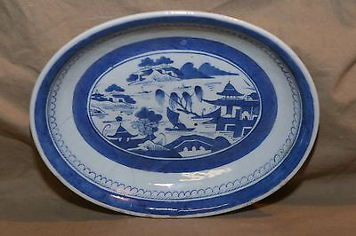 Antique Asian Oval Chinese Export Blue White Canton Porcelain Serving Bowl ~10.5