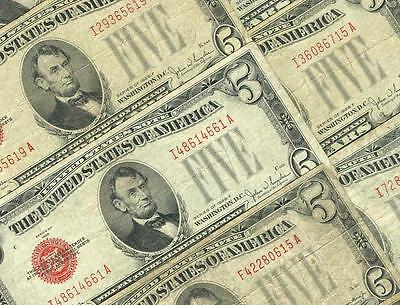 10-$5.00 1928 Mixed Series Red Seal United States Notes  Average Circulated