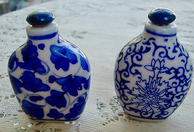 Pair of Vintage Chinese Blue White Porcelain Snuff Bottles