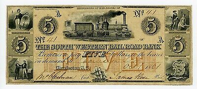 1861 $5 The South Western Rail Road Bank - SOUTH CAROLINA Note w/ TRAIN