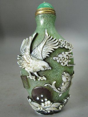 Eximious Chinese Peking Overlay Glass Carved eagle Fish Tree Snuff Bottle