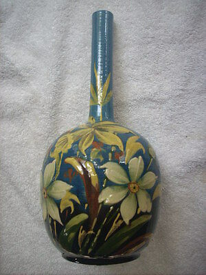 Antique Vase With Moulded Hand Painted Under Glaze Decoration