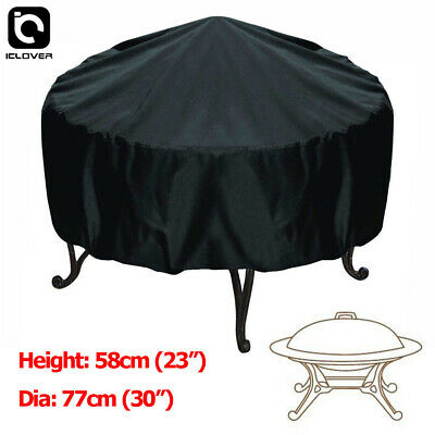 30-inch Patio Round Fire Pit Cover Waterproof UV Protector Grill BBQ Cover Black