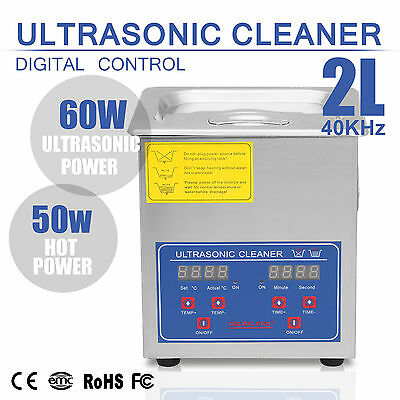 Stainless Steel 2L Liter Industry Heated Ultrasonic Cleaner Heater W/H Timer US