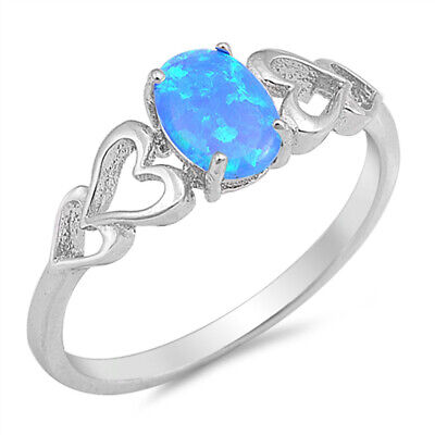 Blue Lab Opal Oval Heart Cutout Promise Ring New .925 Sterling Silver Sizes 4-12