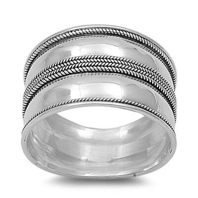 Sterling Silver Women's Bali Rope Ring Wide 925 Fashion Band Sizes 5-12