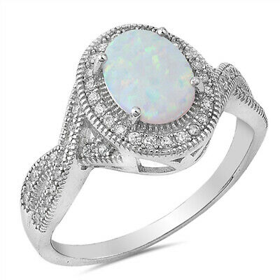 Clear CZ White Lab Opal Vintage Oval Ring .925 Sterling Silver Band Sizes 5-12