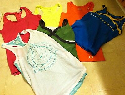Women's Lot Of 6 Nike Dri-Fit Under Armour Kyodan Athletic Tank Tops X-Small