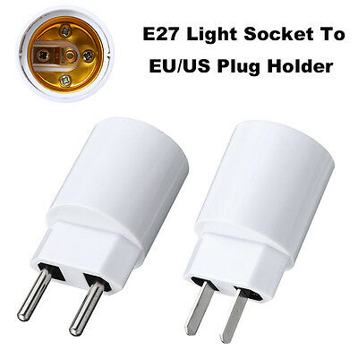 E27 Light Socket To EU/US Plug Holder Adapter Converter For LED CFL Bulb Lamp