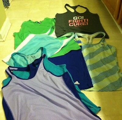 Women's Lot Of 7 Nike Dri-Fit Under Armour Adidas Athletic Tank Tops Large