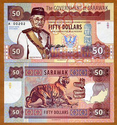 Sarawak, Malaysia, 50 dollars, 2017, Private Issue, UNC > Angry Tiger