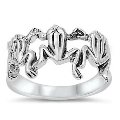 Sterling Silver Woman's Frogs Unique Fashion Ring Unique 925 Band Sizes 4-11