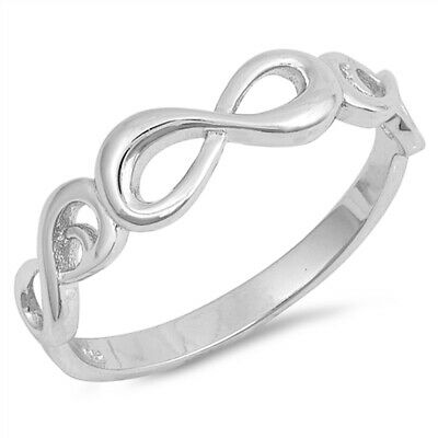 Infinity Knot Criss Cross Promise Ring New .925 Sterling Silver Band Sizes 4-10