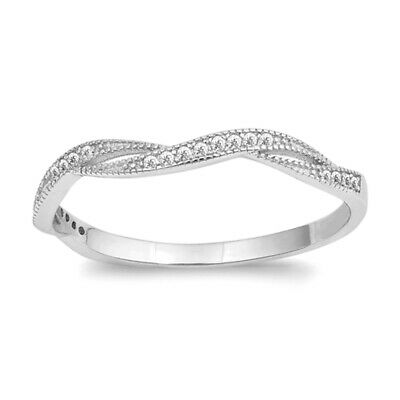 White CZ Criss Cross Knot Stackable Ring New 925 Sterling Silver Band Sizes 4-10
