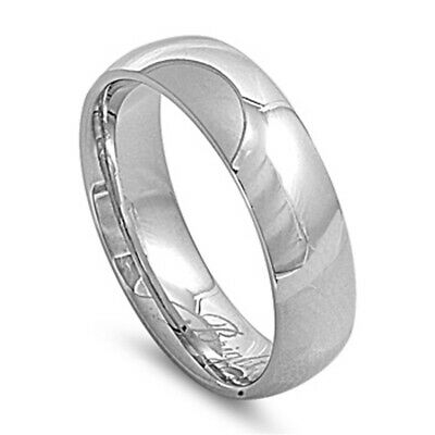 Stainless Steel Band Polished Plain Wedding Ring 316L Surgical 7mm Sizes 6-15