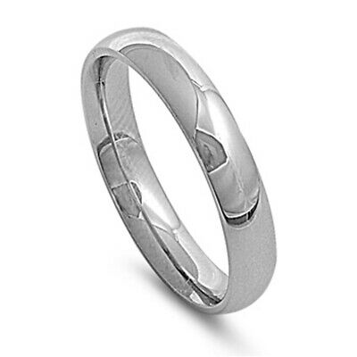 Stainless Steel Band Polished Plain Wedding Ring 316L Surgical 5mm Sizes 5-15