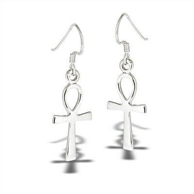 Dangle Simple Ankh Cross High Polish .925 Sterling Silver Classic Earrings