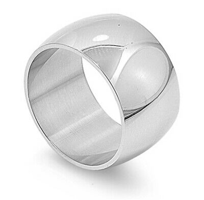 Men's Women's Wide Ring Fashion Polished Stainless Steel Band 12mm Sizes 6-15