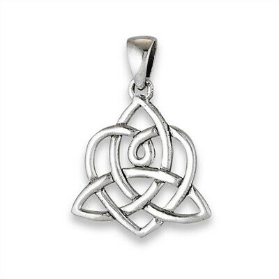 Trinity Knot Celtic Pendant .925 Sterling Silver Link Woven Infinity Braid Charm