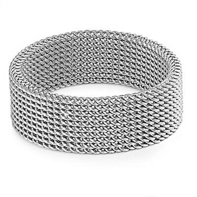 Men's Women's Mesh Ring Classic Stainless Steel Band New USA 8mm Sizes 5-13