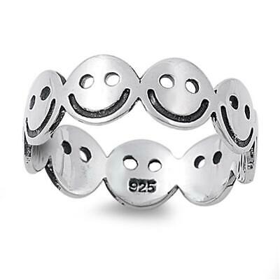 Smiley Face Eternity Happy Unique Ring New .925 Sterling Silver Band Sizes 5-10