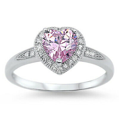 Women's Heart Pink CZ Halo Fashion Ring New .925 Sterling Silver Band Sizes 4-10