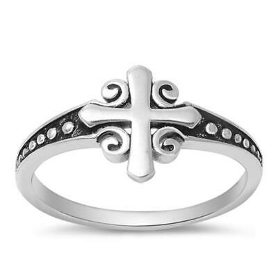 Women's Cross Classic Ring New .925 Sterling Silver Bali Band Sizes 4-10