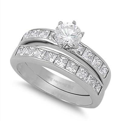 Women's Wedding Set Clear CZ Solitaire Ring 316L Stainless Steel Band Sizes 5-10