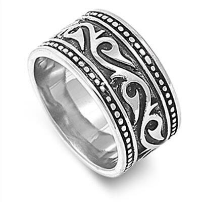 Women's Men's Etched Design Ring Polished Stainless Steel Band 14mm Sizes 8-14