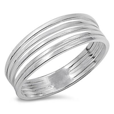 Women's Fashion Bar Line Classic Ring New .925 Sterling Silver Band Sizes 5-10