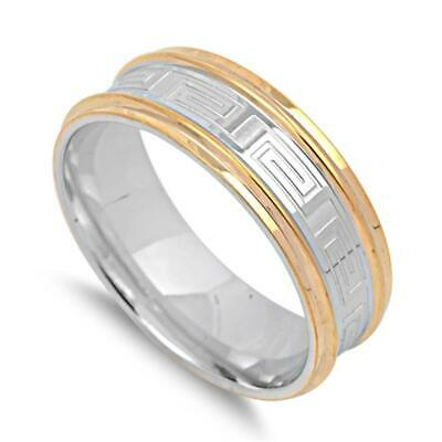 Gold Tone Greek Key Men's Wedding Ring New 316L Stainless Steel Band Sizes 7-13