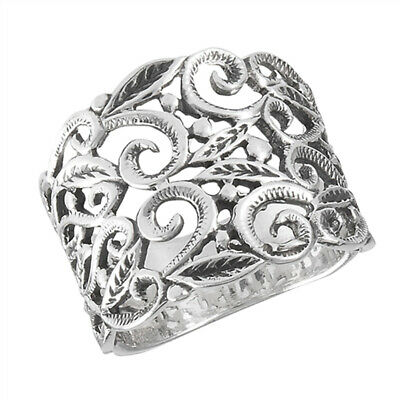 Victorian Filigree Leaf Oxidized Vintage Ring Sterling Silver Band Sizes 7-10
