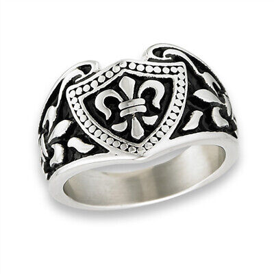 Fleur De Lis Beaded Shield Heavy Fashion Ring Stainless Steel Band Sizes 8-13