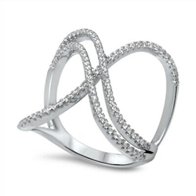 Crisscross Open White CZ Fashion Ring New .925 Sterling Silver Band Sizes 5-10